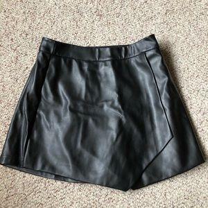 Black Leather Mini Skort